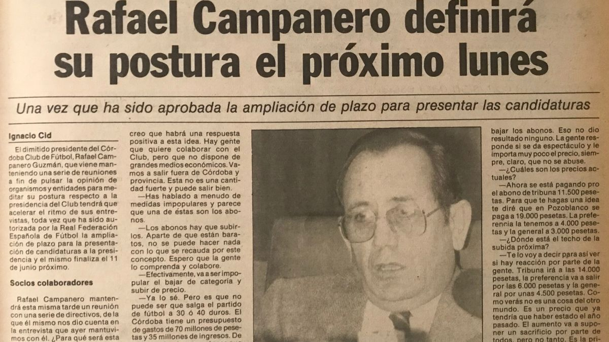 Rafael Campanero, en junio de 1984, con un Córdoba CF en la ruina y en Tercera División.