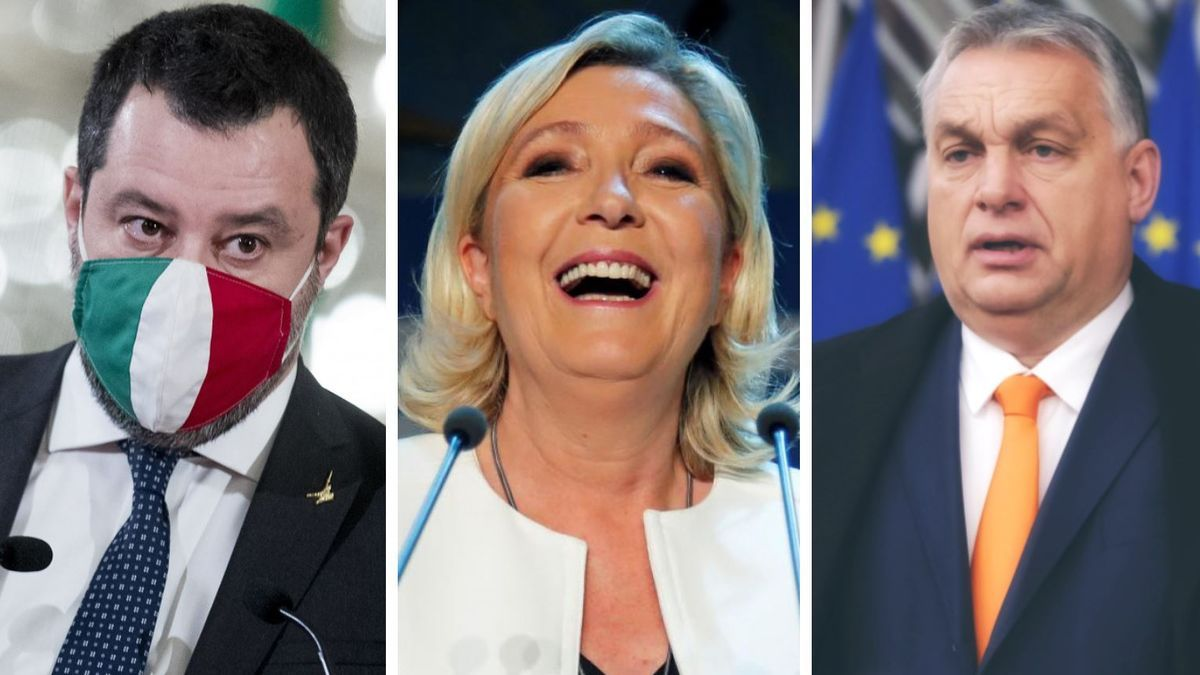 Salvini, Le Pen y Orban