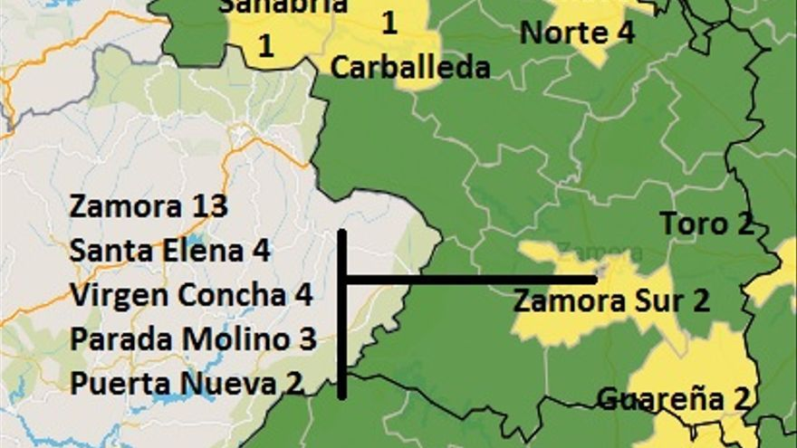 El centro de salud Santa Elena de Zamora, en amarillo por coronavirus