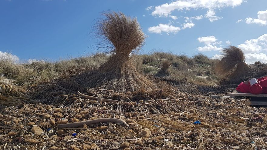 La borrasca Álex destroza las sombrillas de la playa de sa Ràpita