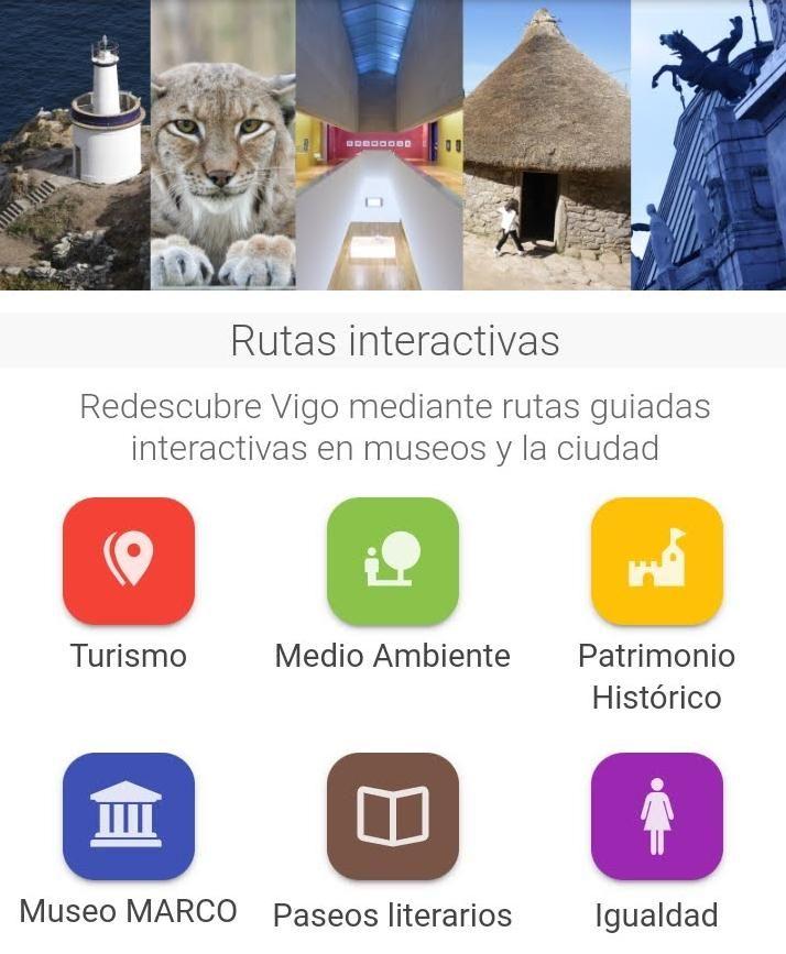 """Vista de las categorías en las que se dividen los itinerarios interactivos de la aplicación municipal """"VIGO""""."""