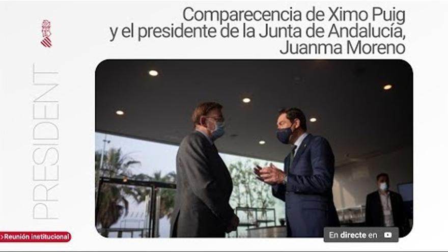 Rueda de prensa del president Ximo Puig y el presidente de la Junta de Andalucía