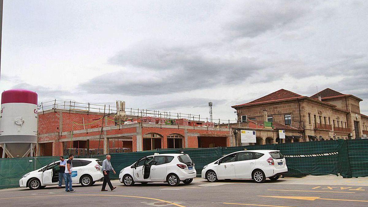 La estación de autobuses de la intermodal de Ourense en obras.