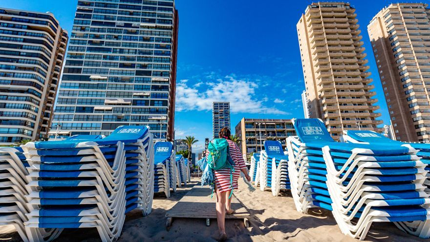 Benidorm recupera las hamacas en la playa pero reduce su número en más de un 50%