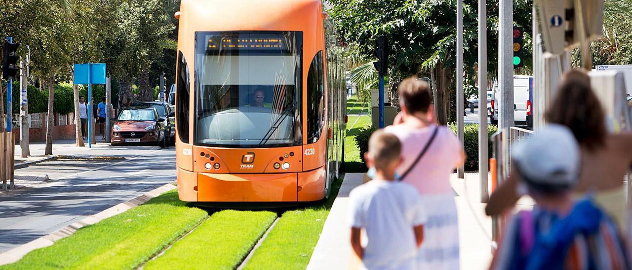 Pasajeros  del TRAM se disponen a coger un tranvía ayer en la zona de playas de Alicante.  | JOSE NAVARRO