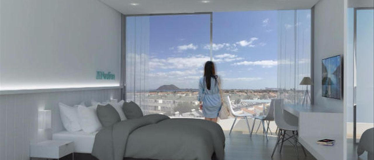 Infografía de las futuras habitaciones del hotel Playa Park Club, en Corralejo.