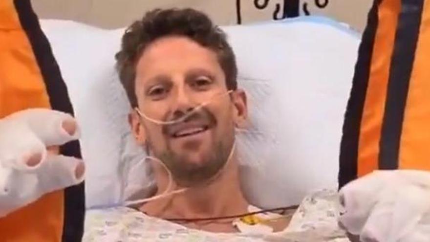 Grosjean muestra sus manos seis semanas después de su accidente