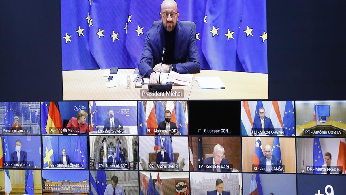 Reunión virtual de líderes de la UE.
