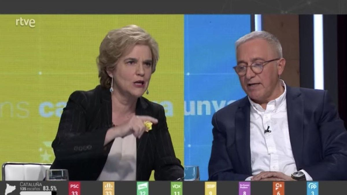 Pilar Rahola and Xavier Sardà, in the TVE electoral debate.