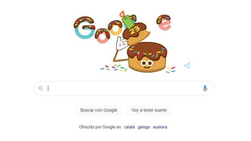 Google se homenajea con un doodle en su 23 cumpleaños
