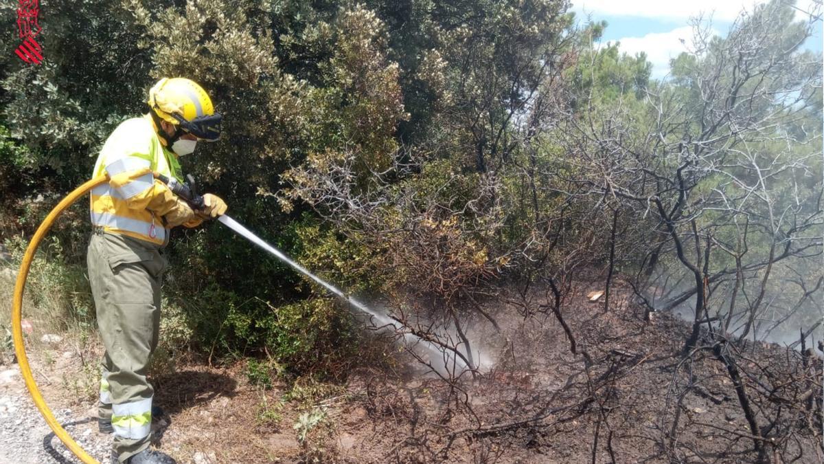 El incendio forestal que ha calcinado 100 metros cuadrados de vegetación en Zucaina ha sido provocado por el que se ha provocado en un coche.
