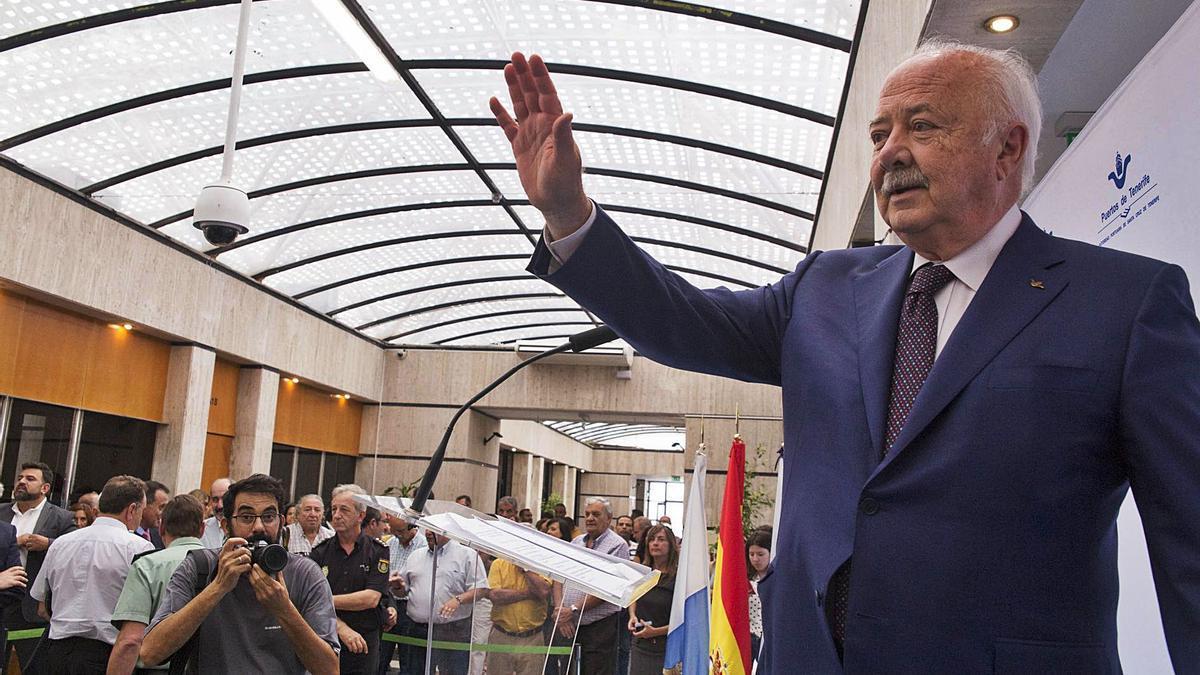 Ricardo Melchior en el acto de su relevo en la Presidencia de la Autoridad Portuaria, el 10 de septiembre de 2018.