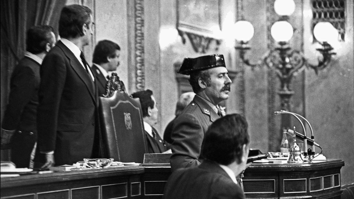 Un momento del golpe de Estado del 23F