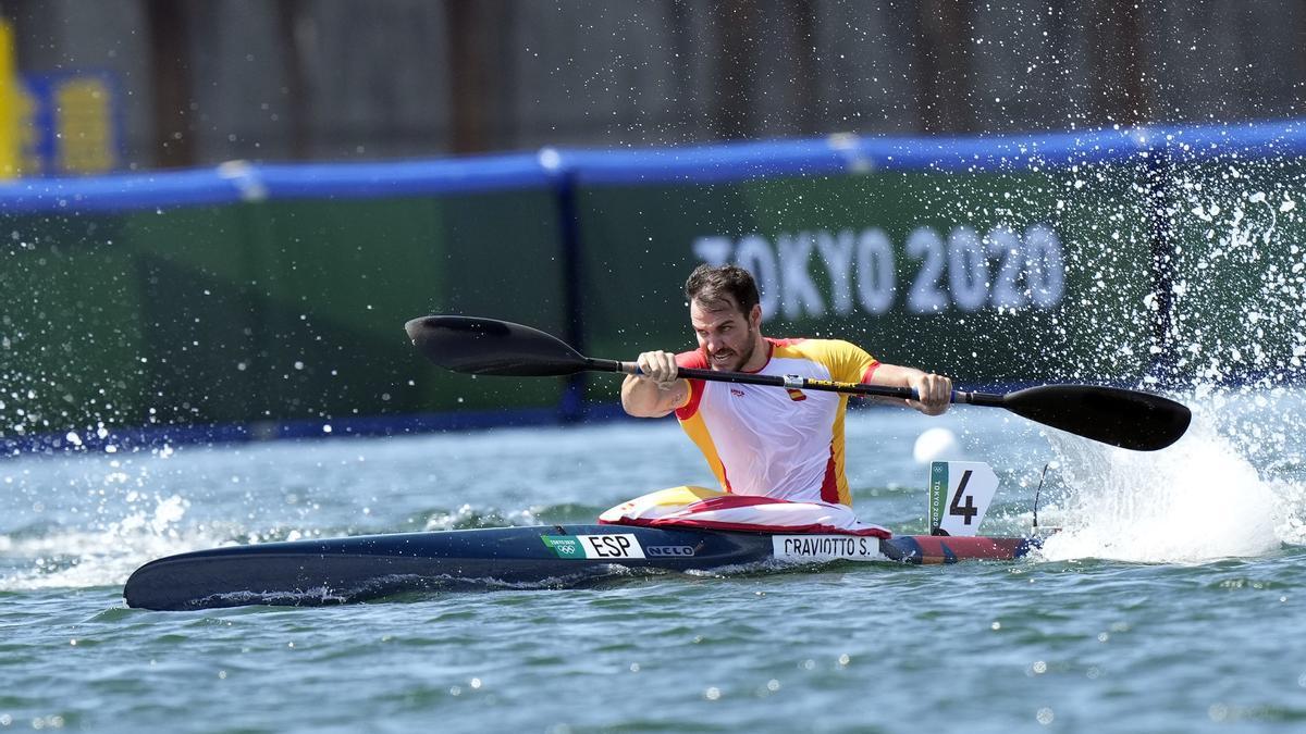 Saúl Craviotto en el K1 200 de los Juegos Olímpicos de Tokio.