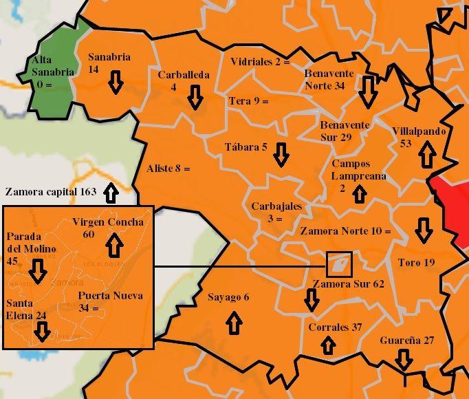 Mapa de contagios COVID por zonas básicas de salud