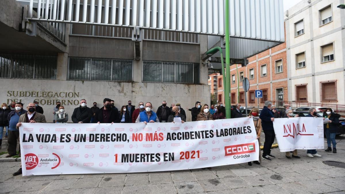 Imagen de archivo de una de las últimas concentraciones contra la siniestralidad laboral en Córdoba.