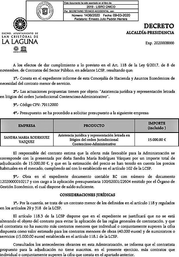 La Laguna contrata a dedo a la abogada del PSOE defensora de Santiago Pérez