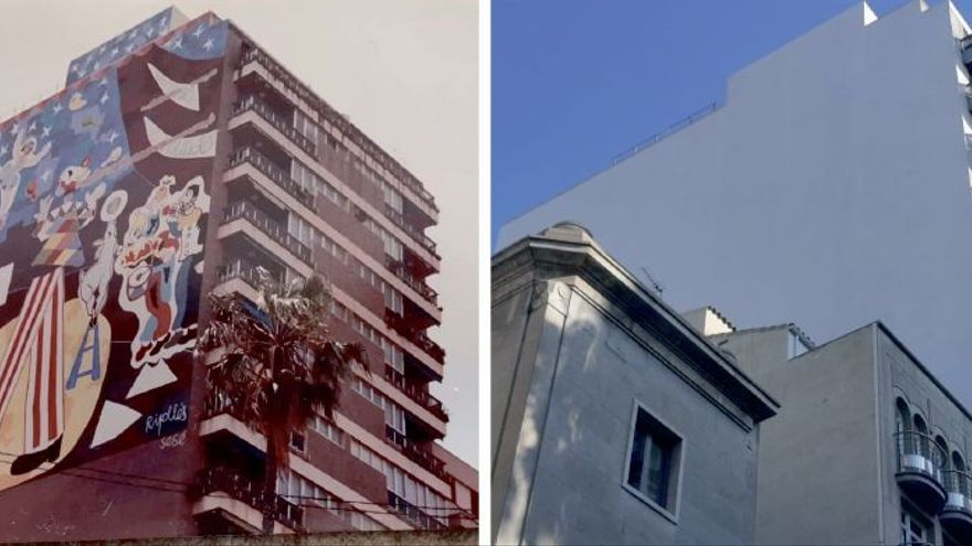 Tapan un mural de Ripollés de un edificio de Castelló sin comunicarlo al artista