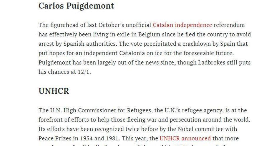 La revista 'Time' situa Puigdemont com a candidat al premi Nobel de la pau