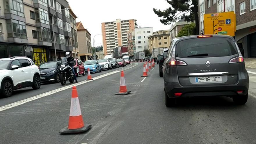 Las obras provocan un caos de tráfico en Perillo