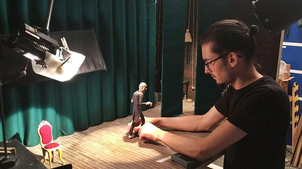 Carbajal, durante la grabación del corto preseleccionado para los Goya.