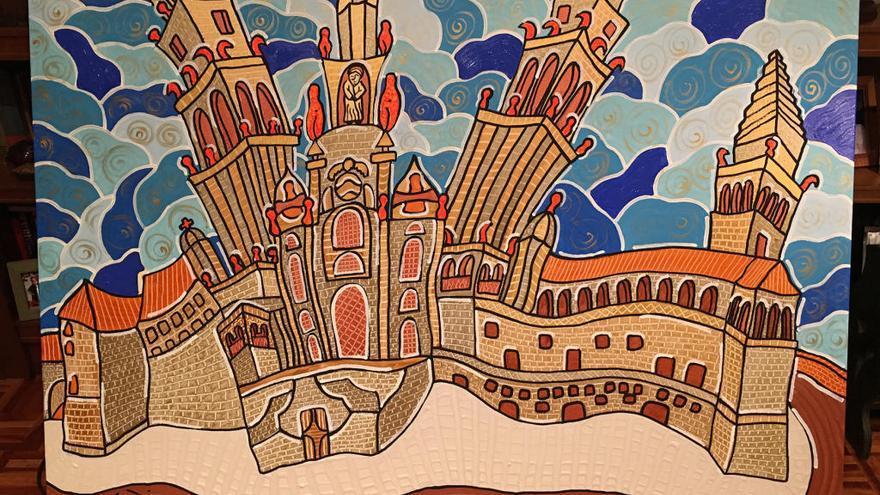 Velloso expone sus pinturas curvilíneas en Santiago