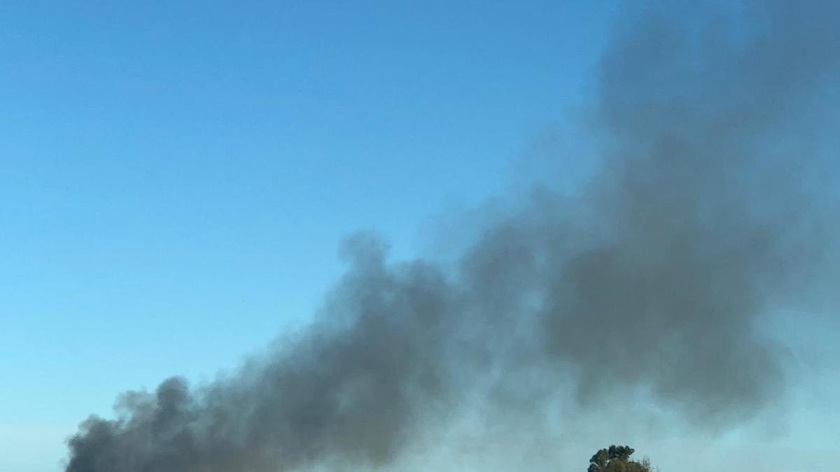 Columna de humo vista desde la carretera.
