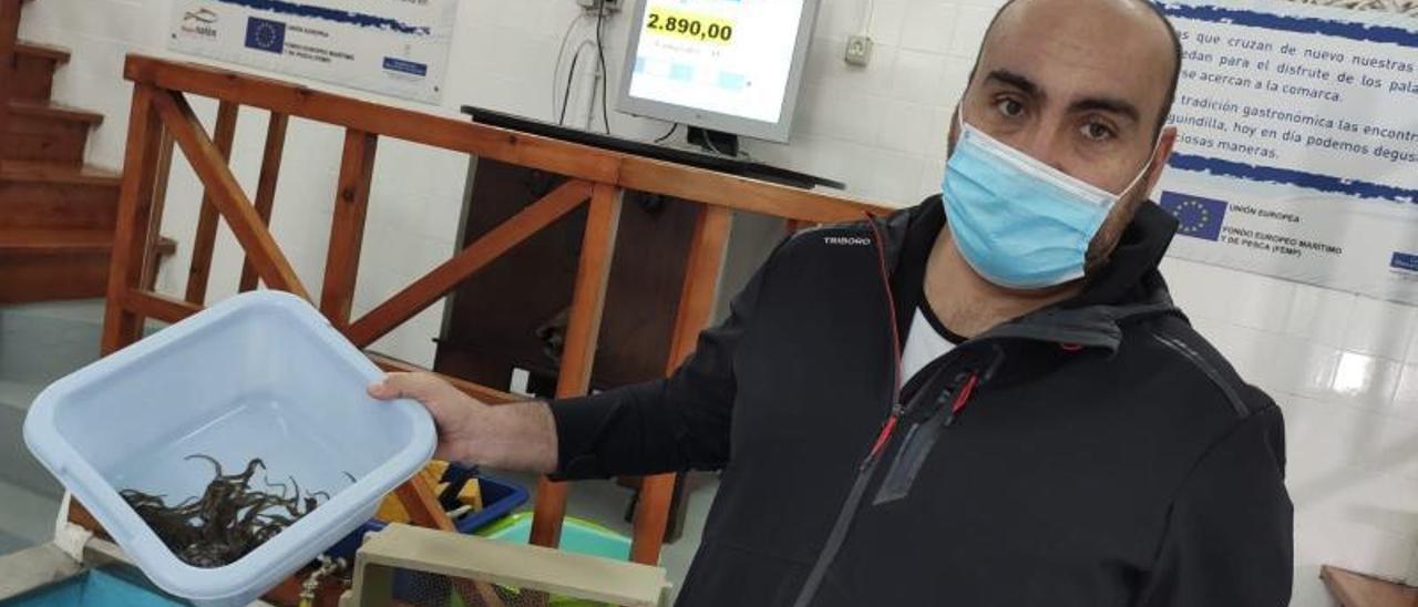 Delfín García, con los primeros 185 gramos de angula subastados en la rula de La Arena (Soto).