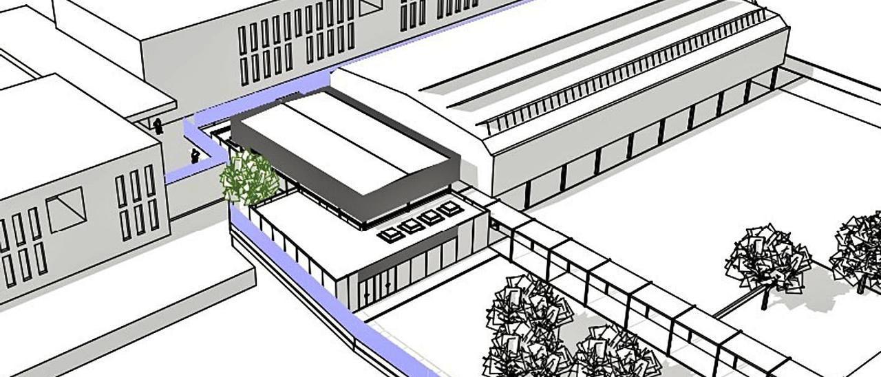 Uno de los esquemas del proyecto de obras de la reforma del CEIP Martínez Valls.   LEVANTE-EMV