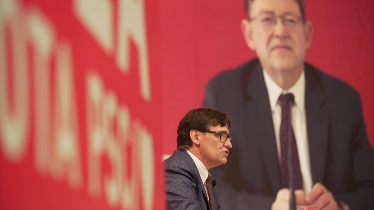 Salvador Illa y Ximo Puig, en el acto de campaña que protagonizaron juntos.