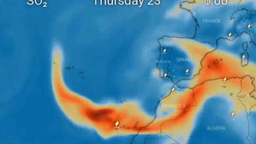 La nube de azufre del volcán de La Palma entrará a la Península por Murcia