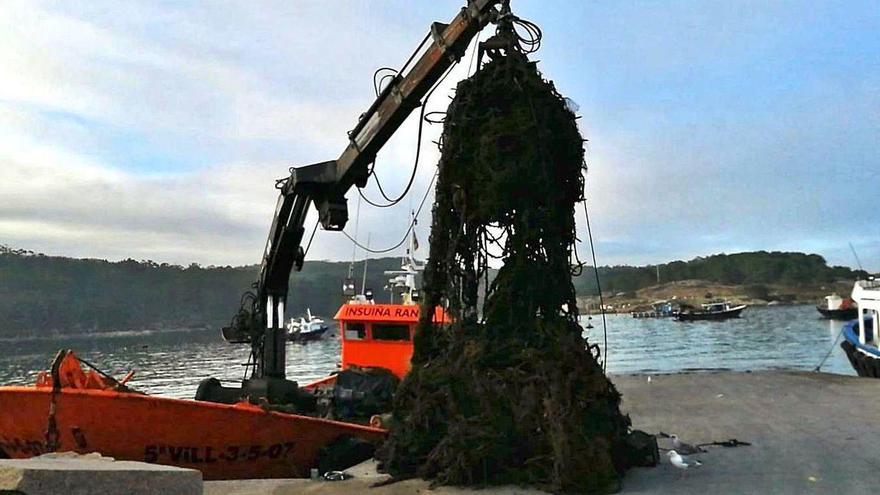 Una empresa arousana retira cientos de toneladas de basura depositada entre bateas
