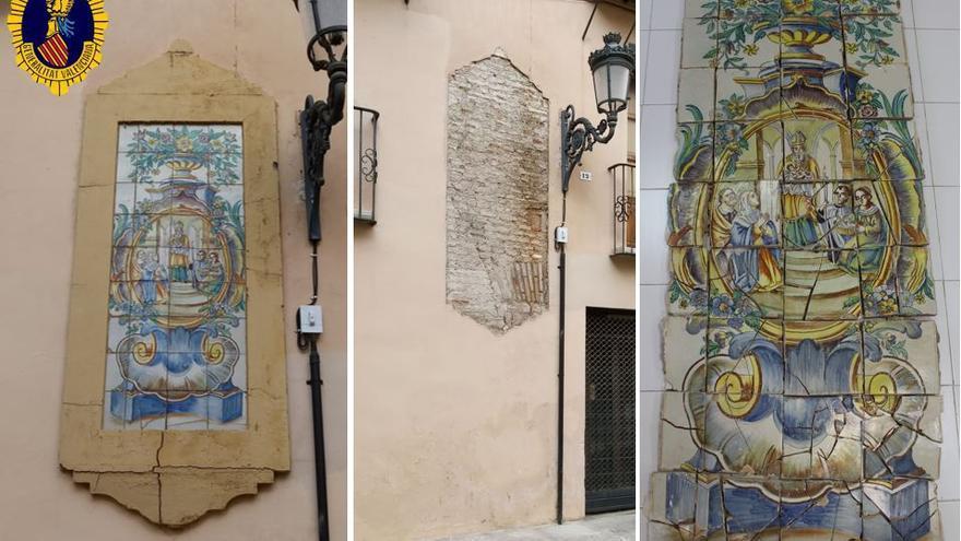 Recuperan un panel cerámico del siglo XVIII en València tras un desprendimiento
