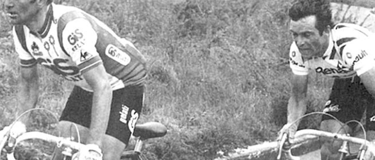 Panizza, delante de Hinault durante el Giro de 1980.