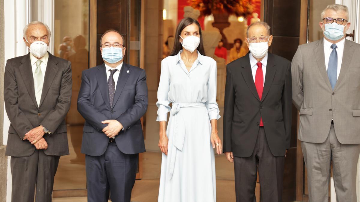 Carlos Zurita, Miquel Iceta, Queen Letizia, Javier Solana and Miguel Falomir Faus.