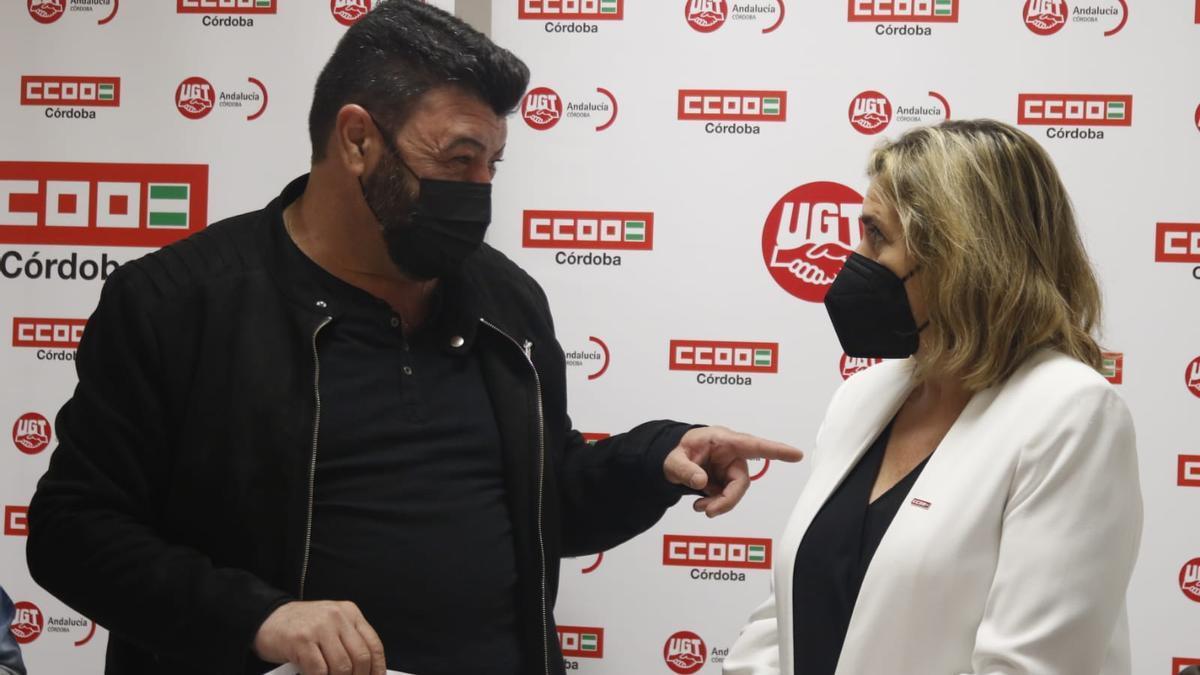 Vicente Palomares y Marina Borrego, antes de la rueda de prensa.