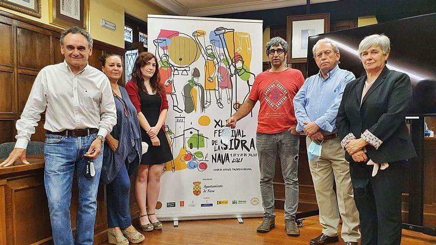 Nava presenta el cartel del Festival de la Sidra, obra del burgalés Diego Gil