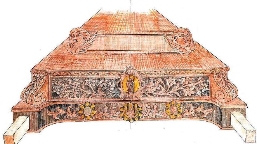 Boceto de cómo quedaría el frontal de la mesa de las andas.