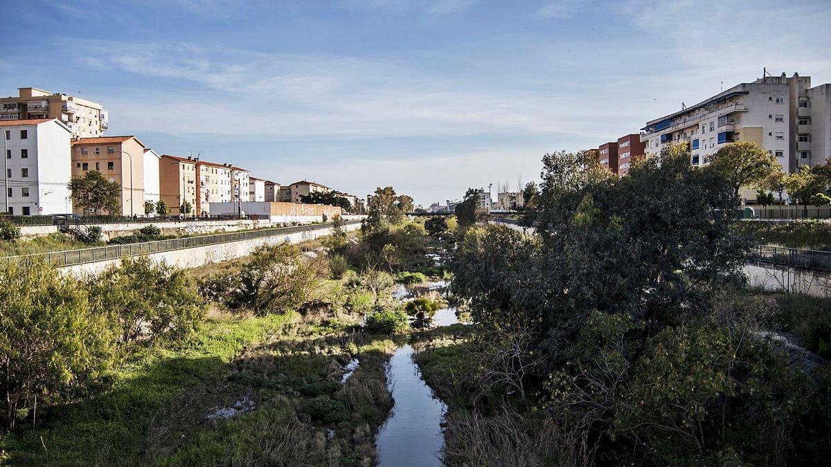 El Guadalmedina desde el puente de La Concepción.