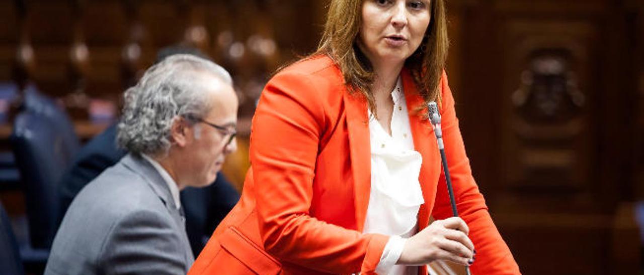 La consejera de Política Territorial, Nieves Lady Barreto, ayer en el pleno del Parlamento.