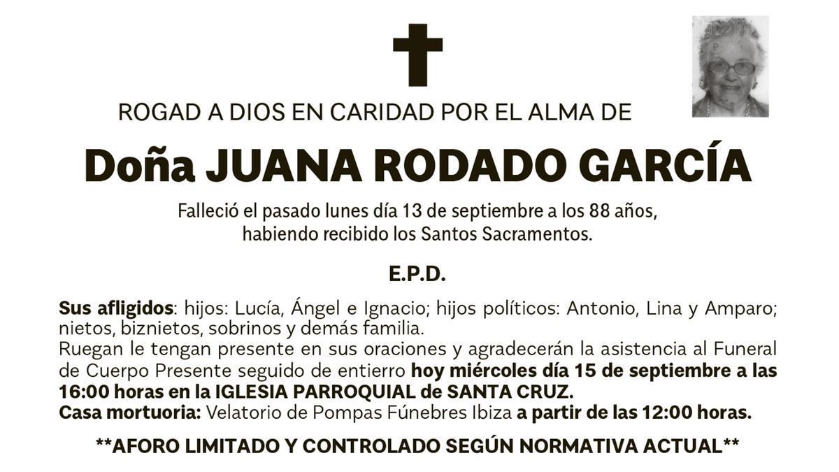 Esquela Juana Rodado García