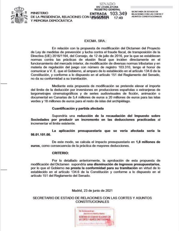 Carta remitida ayer a las 17.49 desde el Ministerio de Presidencia y Relaciones con las Cortes a la Presidencia del Senado que rechaza aplicar el máximo de deducciones fiscales para las producciones cinematográficas fijado en el REF.