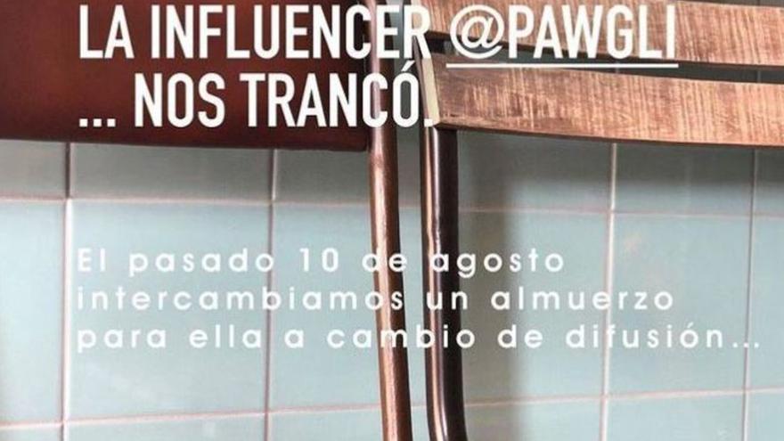 Una 'influencer' peninsular estafa a un restaurante de Canarias y no paga la cuenta