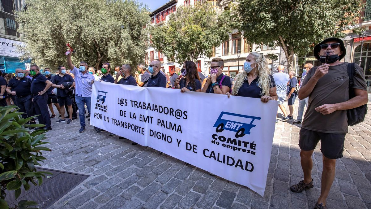 Los trabajadores de la EMT ya se manifestaron en Cort en septiembre pasado.