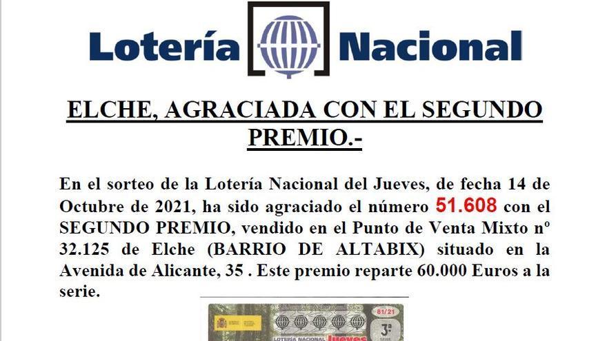 Cae el segundo de la Lotería Nacional en Elche