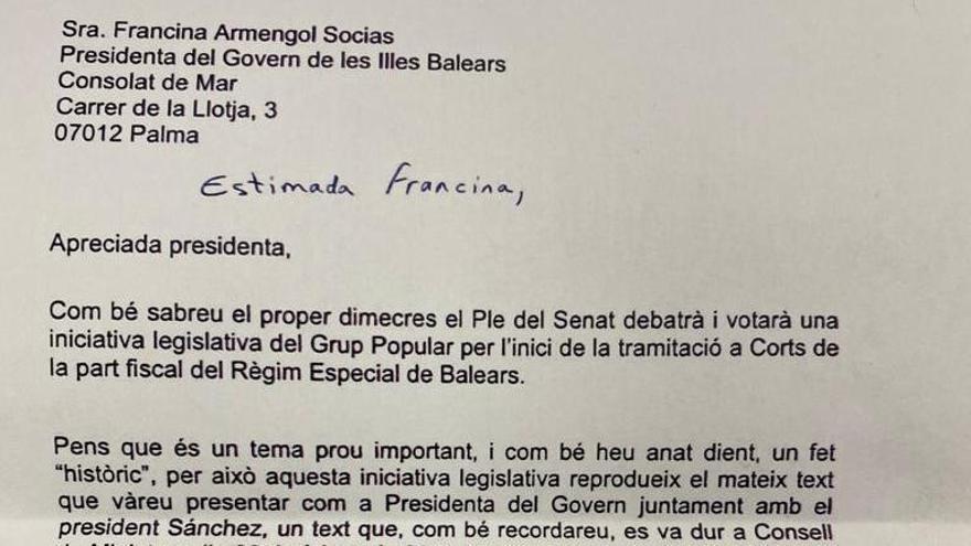 Lea aquí la carta que Marga Prohens ha enviado a Francina Armengol