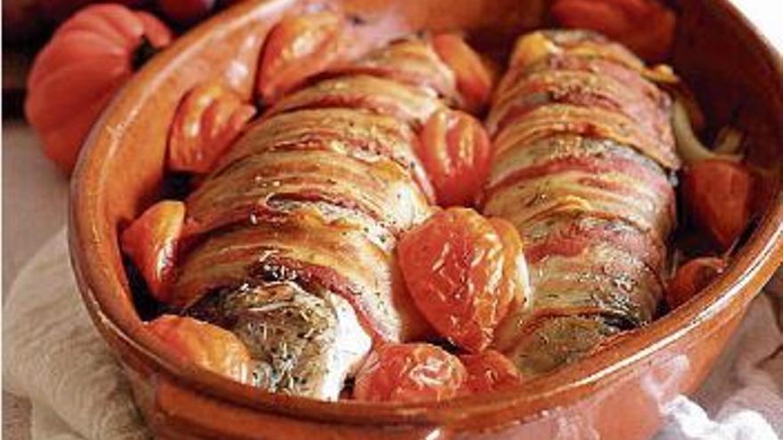 Receta de truchas rellenas de col y zanahoria