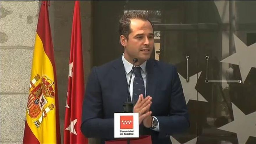 """Aguado pide la implicación """"de forma contundente"""" del Gobierno de España para controlar la pandemia en Madrid"""