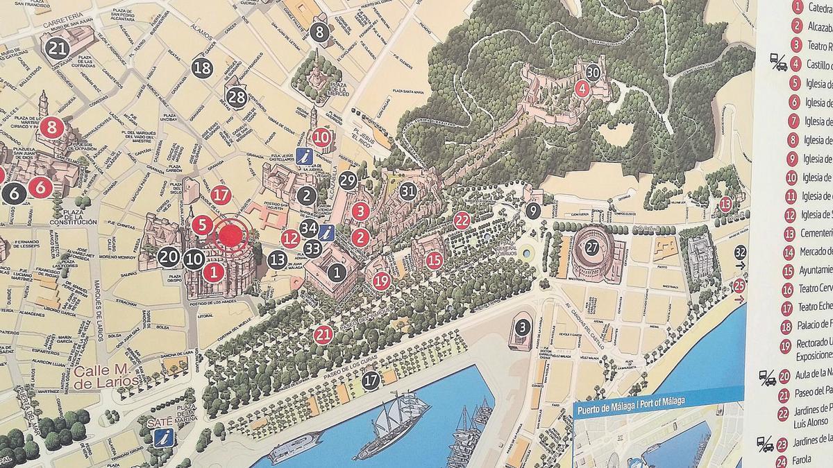 Plano turístico municipal junto a la Catedral, con la ausencia 'monumental' del Banco de España.