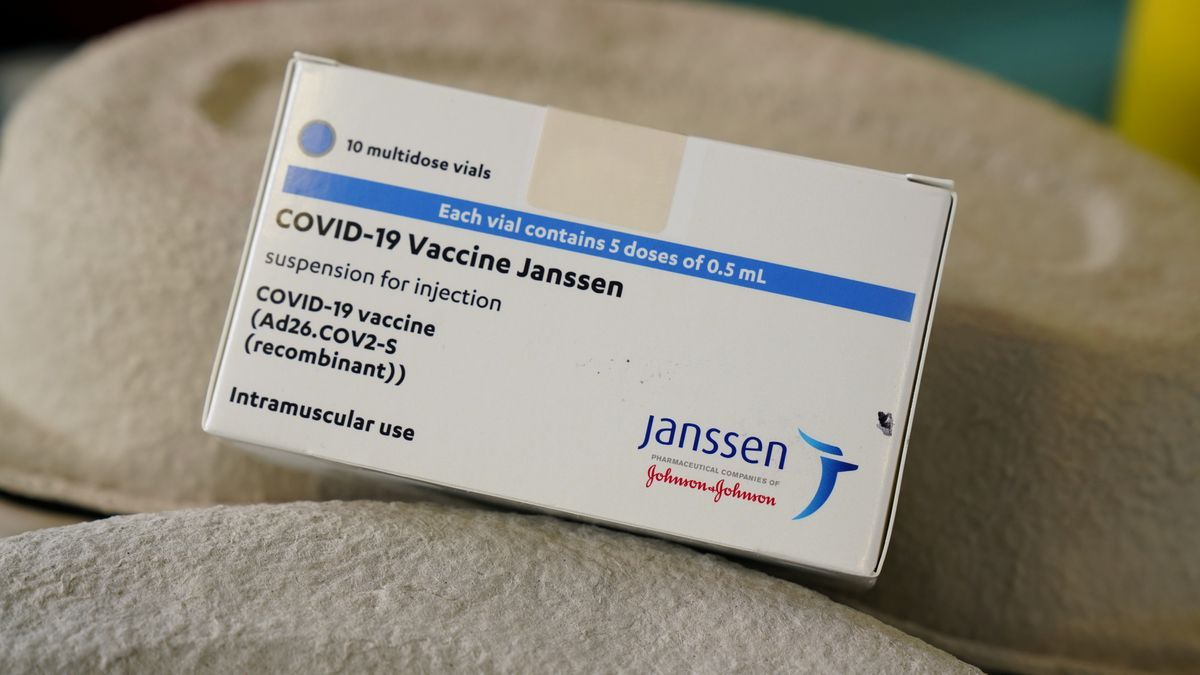 A box of Janssen vaccine vials.